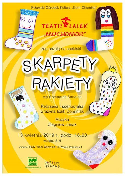 """🧦Dzisiaj w Puławskiej Galerii Sztuki o godz. odbędzie się spektakl """"Skarpety Rakiety"""". Przygody zabawnych…"""