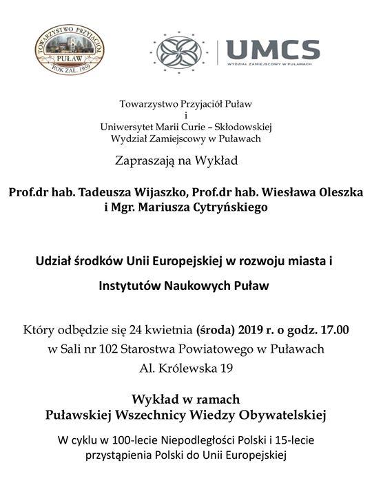 """Towarzystwo Przyjaciół PuÅ'aw i WydziaÅ' Zamiejscowy UMCS w PuÅ'awach zapraszajÄ… na wykÅ'ad pt. """"Udział…"""