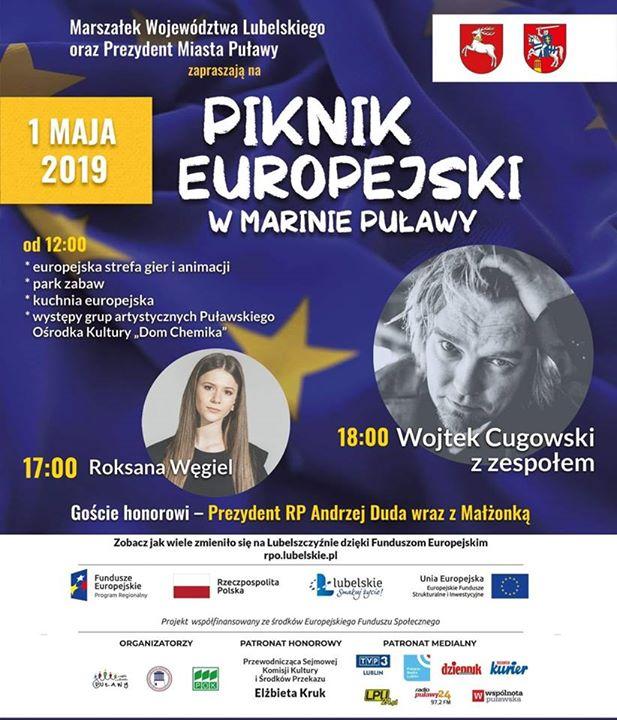 1 maja w Puławach odbędzie się Piknik europejski!! Marszałek Województwa Lubelskiego Jarosław Stawiarski oraz…