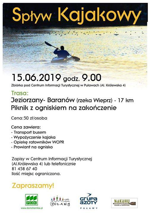 ℹ️ Centrum Informacji Turystycznej w Puławach zaprasza 15 czerwca (sobota) na spływ kajakowy Wieprzem…