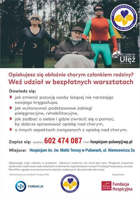 Hospicjum im. św. Matki Teresy w Puławach zachęca do wzięcia udziału w bezpłatnym szkolenia…