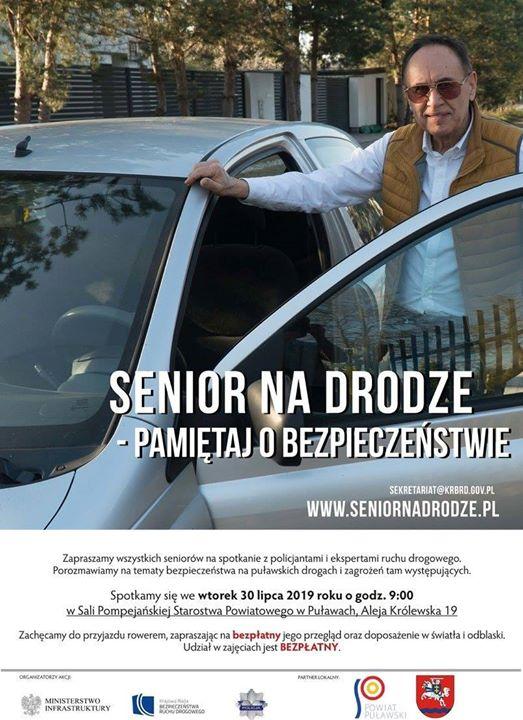 """""""Senior na drodze – pamiętaj o bezpieczeństwie"""". We wtorek, 30 lipca br. o godz.…"""
