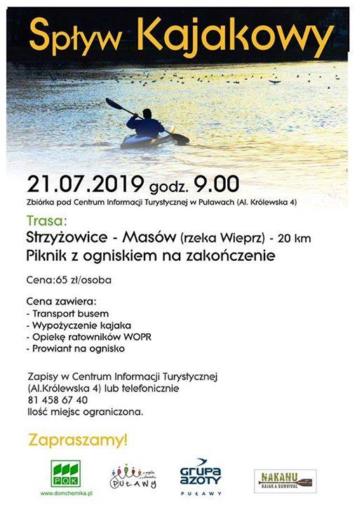 ℹ️ Centrum Informacji Turystycznej w Puławach zaprasza 21 lipca (niedziela) na spływ kajakowy Wieprzem…