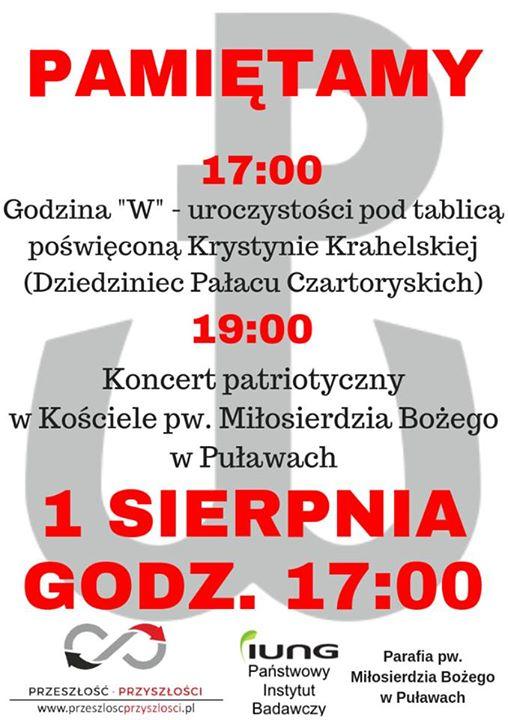 1 sierpnia o godzinie na dziedzińcu Pałacu Czartoryskich pod tablicą poświęconą Krystynie Krahelskiej odbędą…