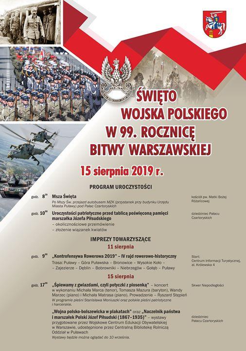 🇵🇱W najbliższy czwartek będziemy obchodzili Święto Wojska Polskiego oraz 99. rocznicę Bitwy Warszawskiej stoczonej…