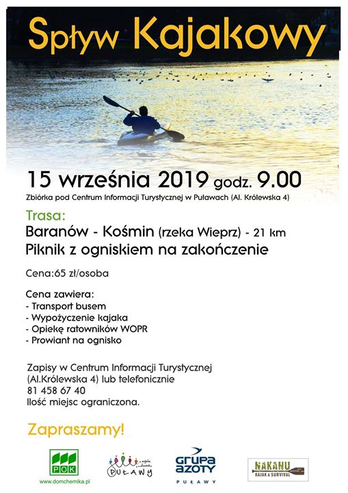 Centrum Informacji Turystycznej w Puławach zaprasza na spływ kajakowy Wieprzem, który odbędzie się 15…